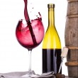 Barrel with corkscrew and wine glass — Stock Photo