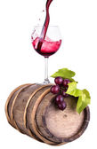 Grapes with wine glass and wooden vintage barrel — Stok fotoğraf