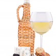 Wine assortment cheese and grapes — Stock Photo