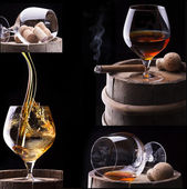 Cognac and Cigar on black with barrel collage — Stock Photo