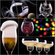 Alcohol drinks collage isolated on a black — Stock Photo