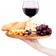 Wine and food with waiter hand — Stock Photo