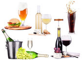 Champagne, wine,beer,cola and food — Stock Photo