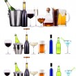 Red wine, champagne, beer, alcohol cocktail — ストック写真
