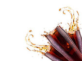 Fresh cola drink background with splash — Stock Photo