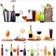 Set of different alcoholic drinks and cocktails — Stockfoto