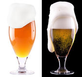 Glass of light beer on black and white — Stock Photo
