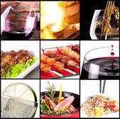 álcool bebidas e pratos de carne diferente — Foto Stock