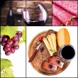 gustoso collage con vino e cibo — Foto Stock