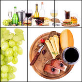 Set of different alcoholic drinks and food — Stock Photo