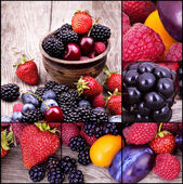 Tasty summer fruits on a wooden table — Stock Photo