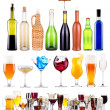 Stock Photo: Alcoholic drinks set with splash