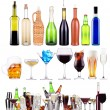 Alcoholic drinks set with splash — Stock Photo