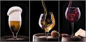 Scotch di vino, birra, isolato su un nero — Foto Stock