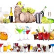 Foto Stock: Different alcohol drinks set isolated