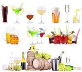 Bevande alcoliche diverse impostare isolate — Foto Stock