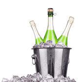 Champagne bottle in a bucket — Stock Photo