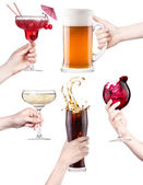 Collage with alcohol cocktails — Stock Photo