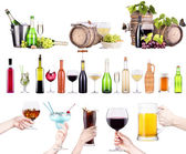 Different alcohol drinks set isolated — Foto de Stock