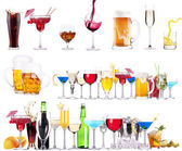 Different alcohol drinks set isolated — Stock Photo