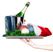 Champagne and christmas decor — Stock Photo