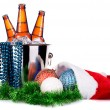 Beer and christmas decor — Stock Photo