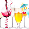 Different images of alcohol isolated — Stock Photo
