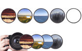 Set of landscapes throw camera filter isolated — Stockfoto