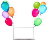 彩色的气球上挂着的膝上型计算机 — 图库照片