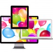 Birthday Balloons on computer Screen — Stock Photo