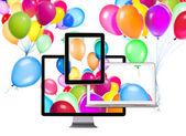 Birthday Balloons on computer Screen — Стоковое фото