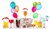 Different images of alcohol with balloons — 图库照片