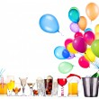 Different images of alcohol with balloons — Stockfoto