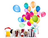 Different images of alcohol with balloons — Stock Photo