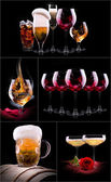 Set with different drinks on black background — Stock Photo