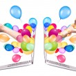 Hand with a gift and laptop — Stock Photo