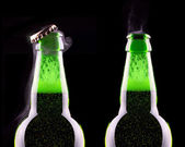 Open wet beer bottle — Stock Photo