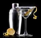 Cocktail martini on a black — Stock Photo