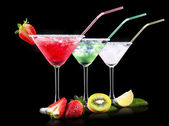 Alcohol cocktail set with summer fruits — Stock Photo