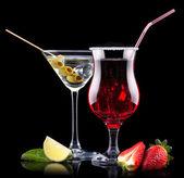 Alkohol cocktail set mit sommer-früchte — Stockfoto