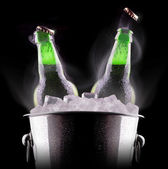 Beer bottles in ice bucket — Zdjęcie stockowe