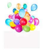 Urlaub banner mit bunten luftballons — Stockfoto