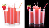Smoothies of strawberry in glass with splash — Stock Photo