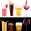 Collection of different images alcohol isolated — Stock Photo