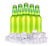Beer bottles in ice isolated — Stock Photo