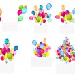Holiday banners with colorful balloons — Stock Photo