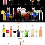 Постер, плакат: Different alcohol drinks set