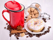 Tasty donut with a cup of coffee — Foto Stock
