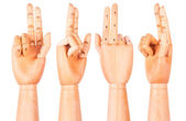 Wooden hand is showing two fingers — Foto de Stock