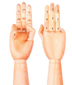 Wooden hand is showing  three fingers — Stock Photo